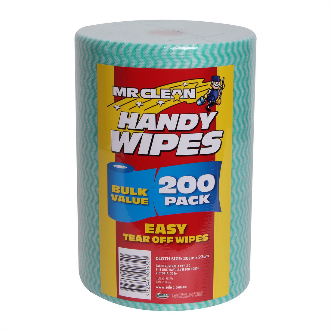 Mr Clean Cleaning Handy Wipes Green 200/Roll PB276