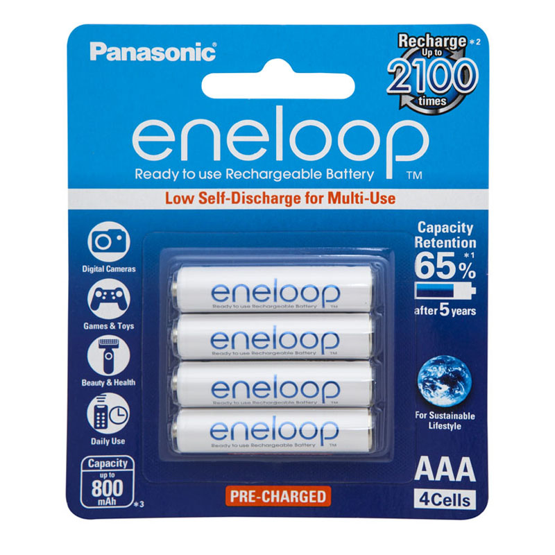 Eneloop 800mAh AAA Ready to use Rechargeable Battery 4 pack