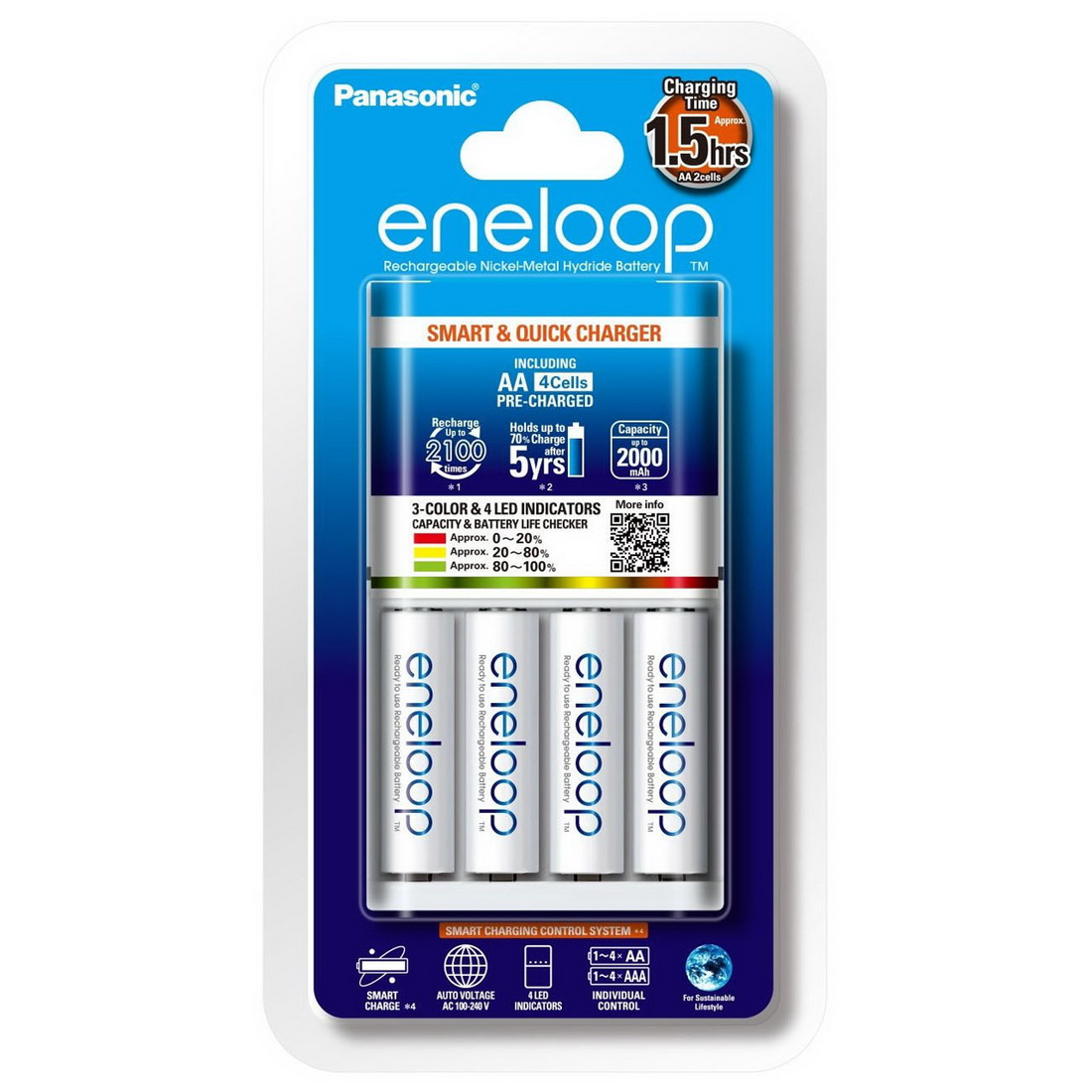 Eneloop 2000mAh 1.5hrs Charging Smart & Quick AA Rechargeable Battery Charger