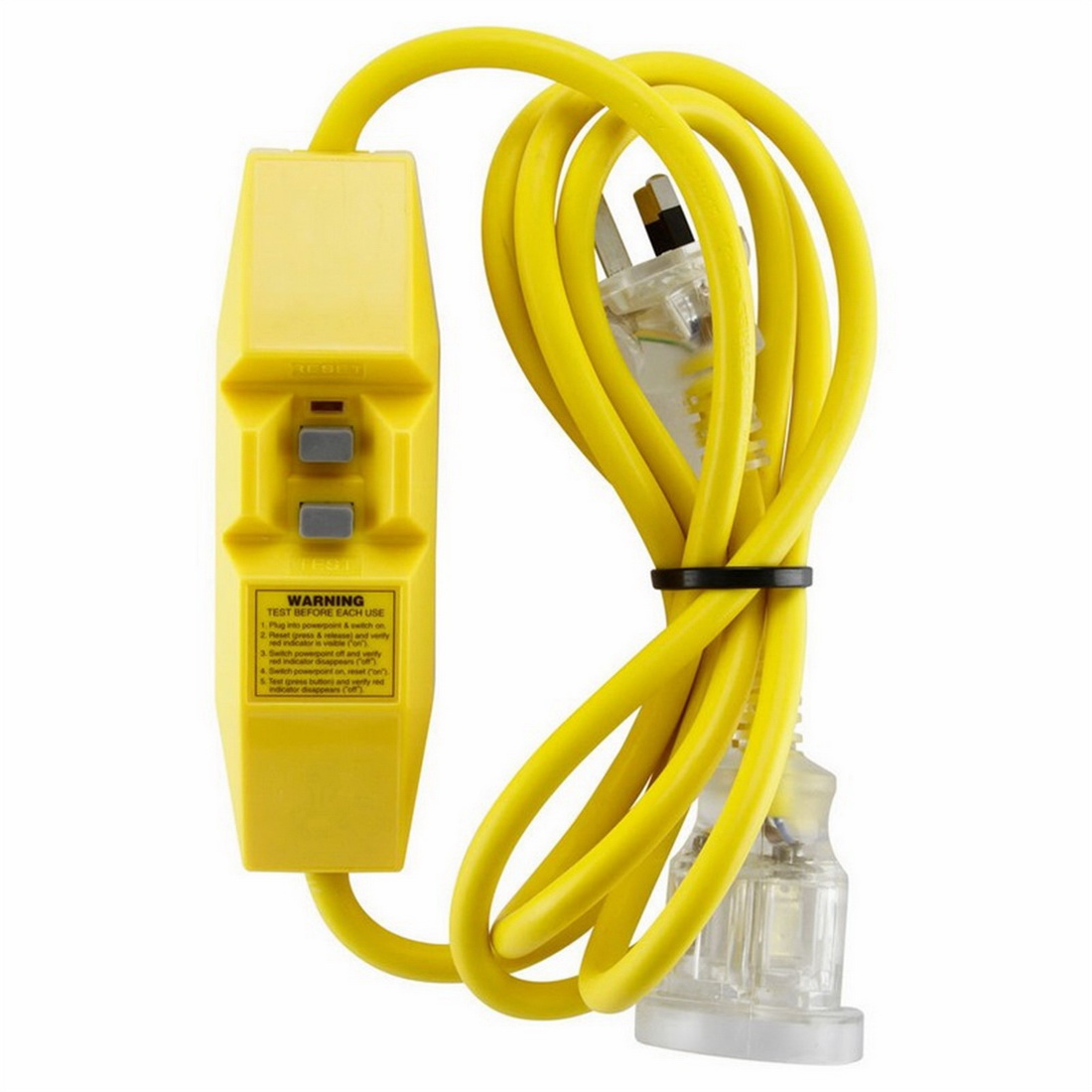 2m Single Outlet Extra Heavy Duty Extension Lead with Inline IP66 RCD Yellow