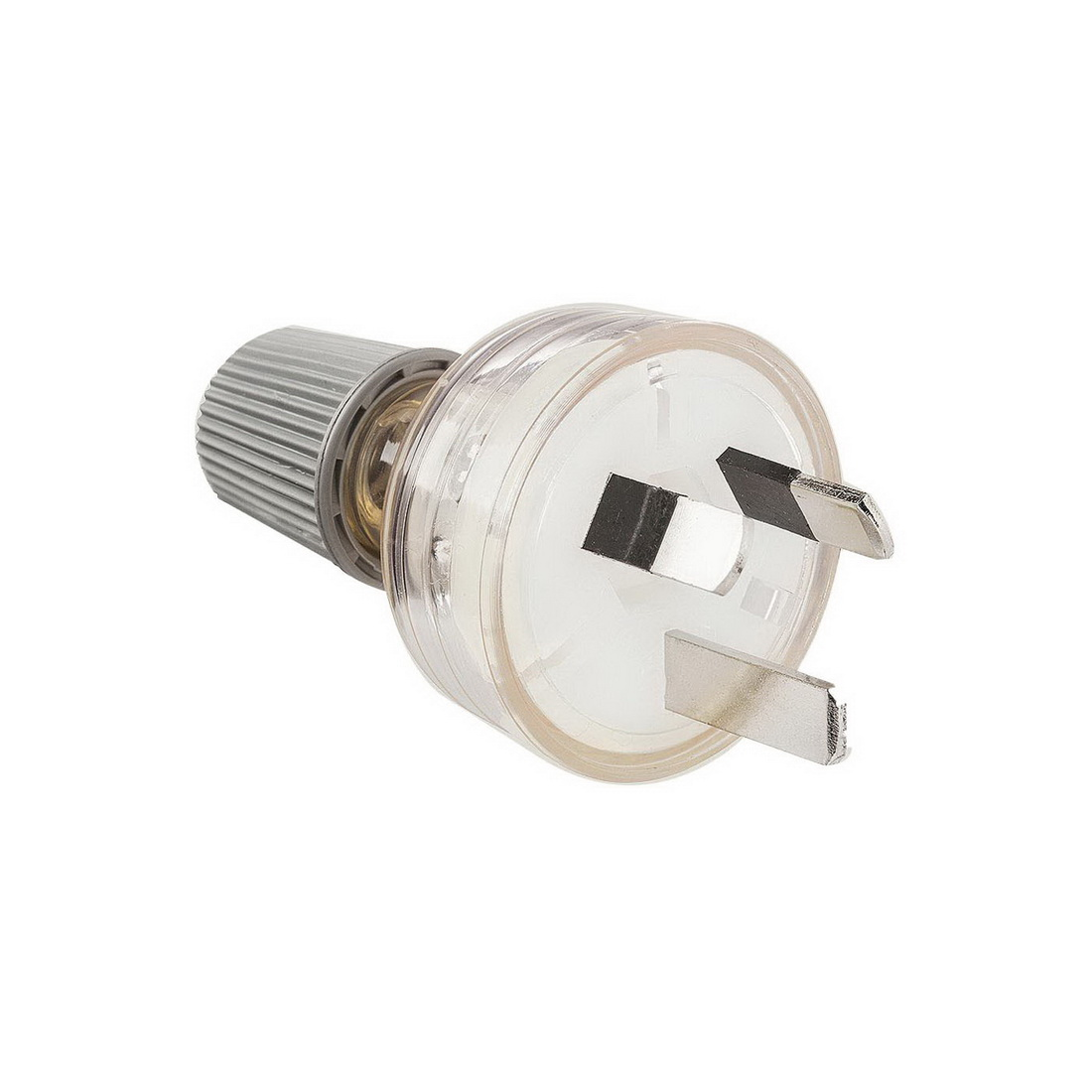 3-Pin Male Electrical Plug Top with Cord Locking Nut Clear