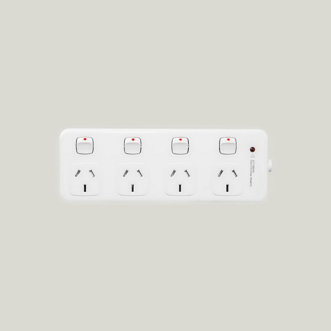 4-Outlet 1.8m Individually Switched Surge Protected Power Board