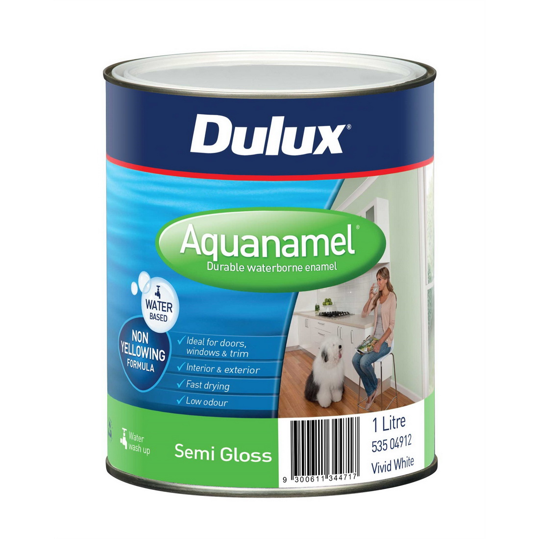 Aquanamel Semi Gloss Vivid White 1L