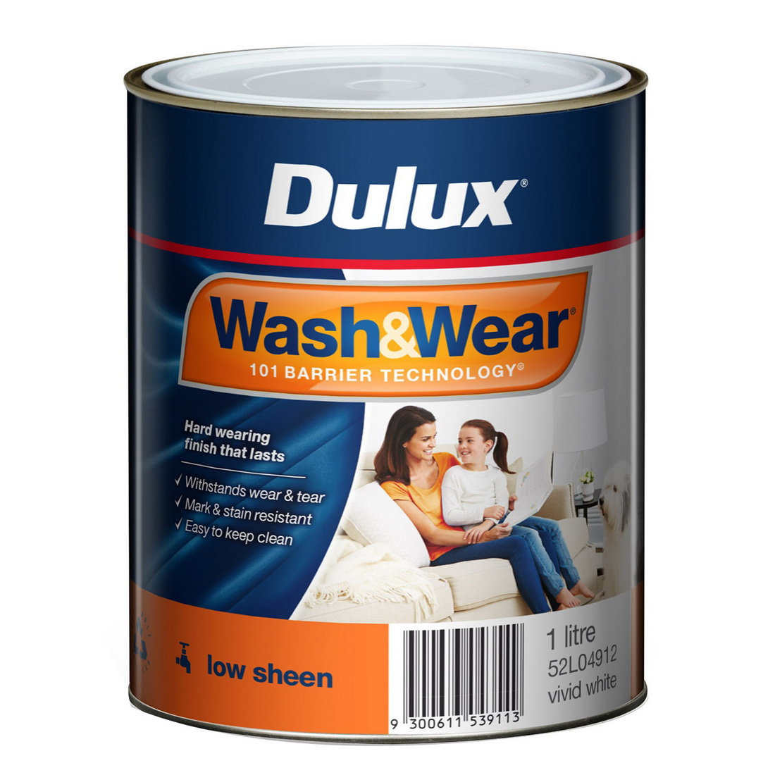 Wash And Wear Interior Low Sheen Vivid White 1L