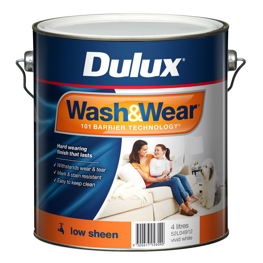 Wash And Wear Interior Low Sheen Vivid White 4L