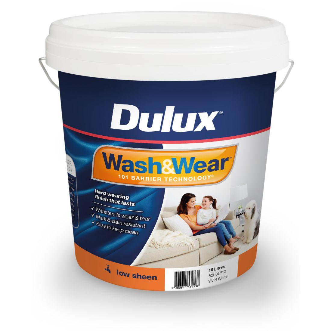 Wash And Wear Interior Low Sheen Vivid White 10L