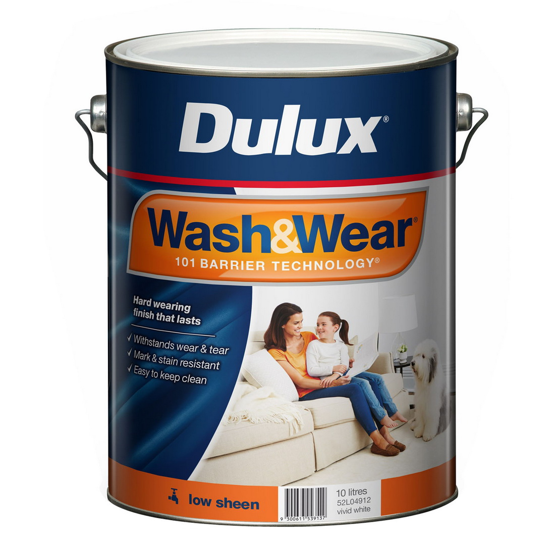 Wash & Wear 10L Interior Wall Paint Low Sheen Vivid White