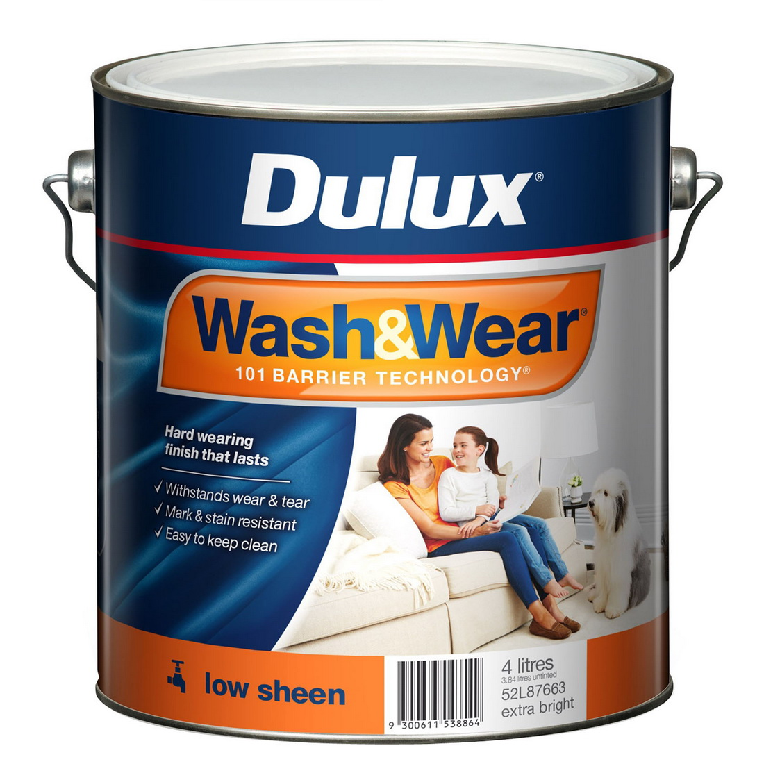 Wash And Wear Interior Low Sheen Extra Bright Base 4L
