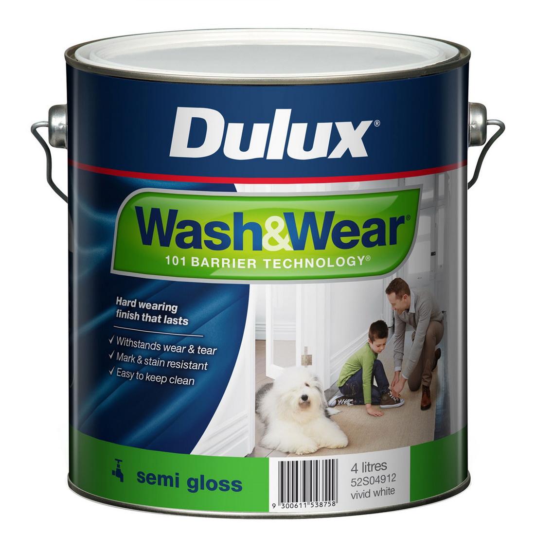 Wash&Wear Interior Semi Gloss Vivid White 4L