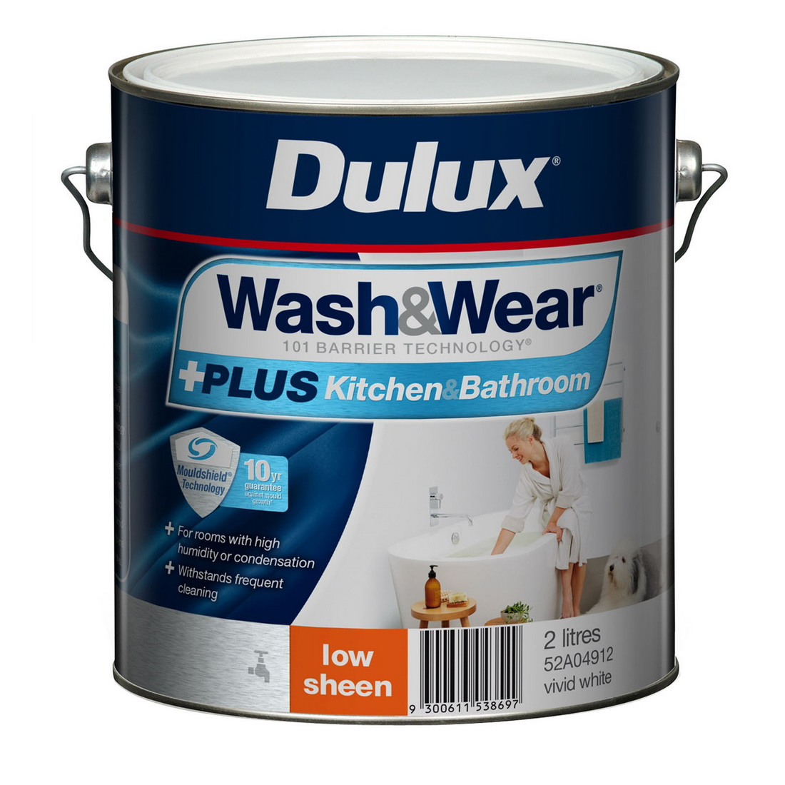 Wash And Wear Plus Kitchen And Bathroom Low Sheen Vivid White 2L