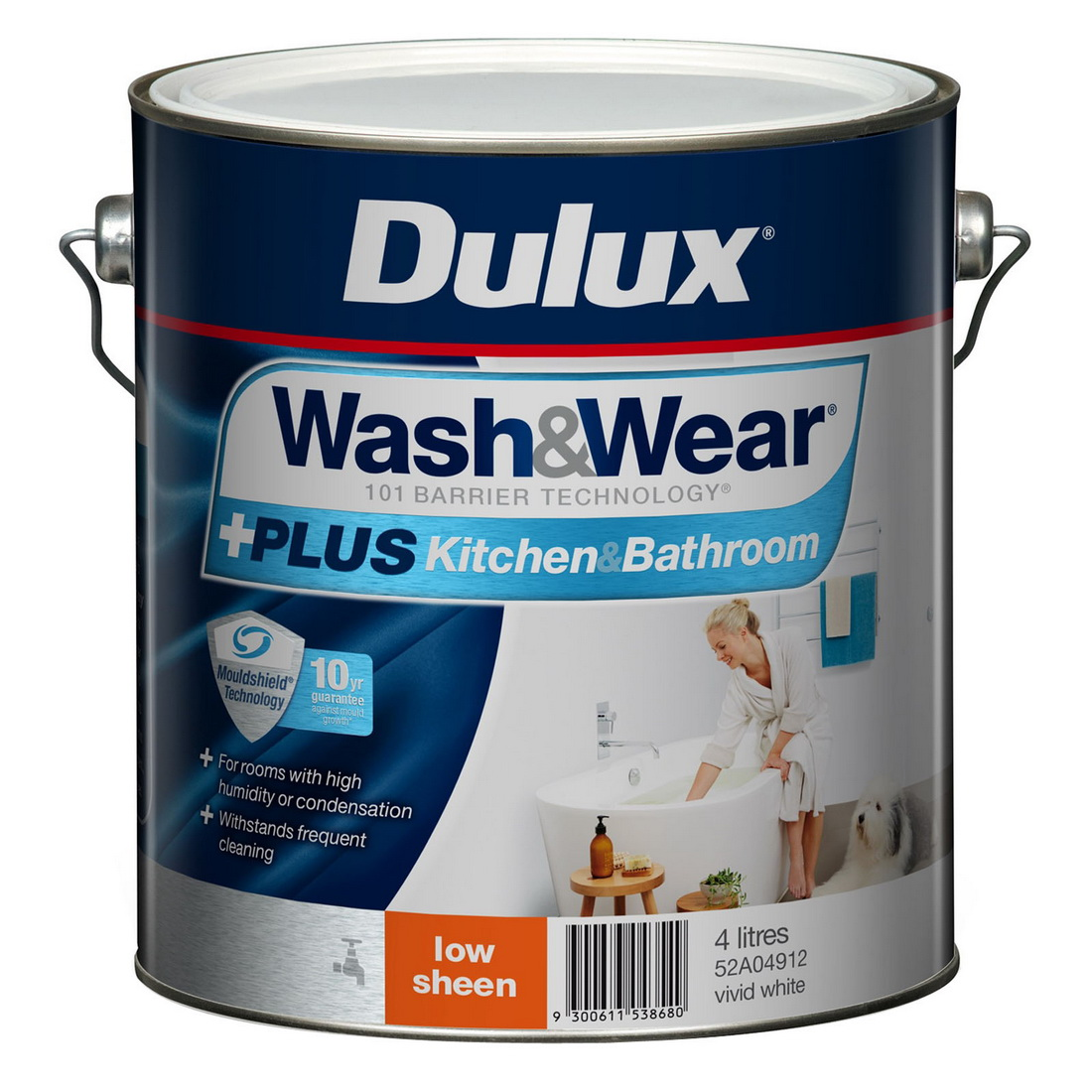 Wash And Wear Plus Kitchen And Bathroom Low Sheen Vivid White 4L