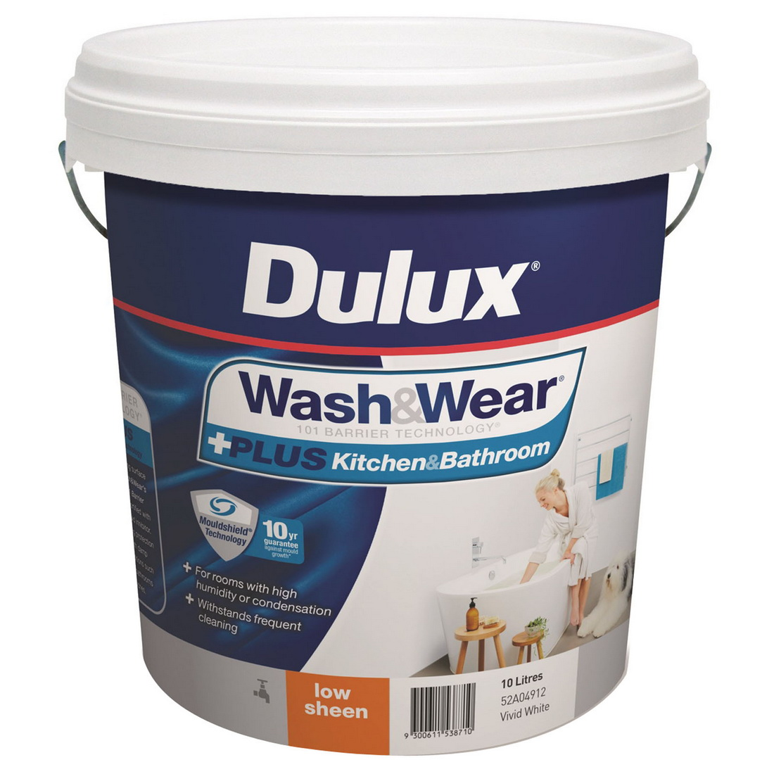 Wash And Wear Plus Kitchen And Bathroom Low Sheen Vivid White 10L