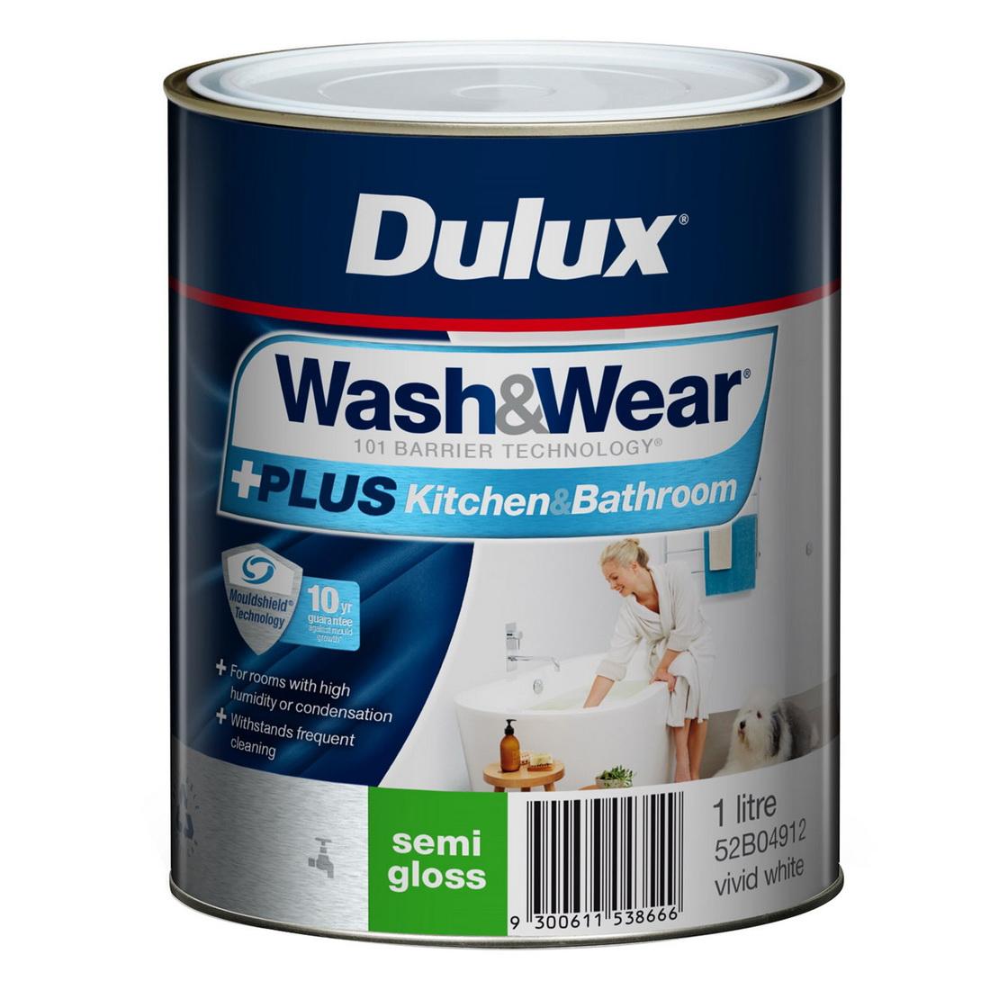 Wash And Wear Plus Kitchen And Bathroom Semi Gloss Vivid White 1L