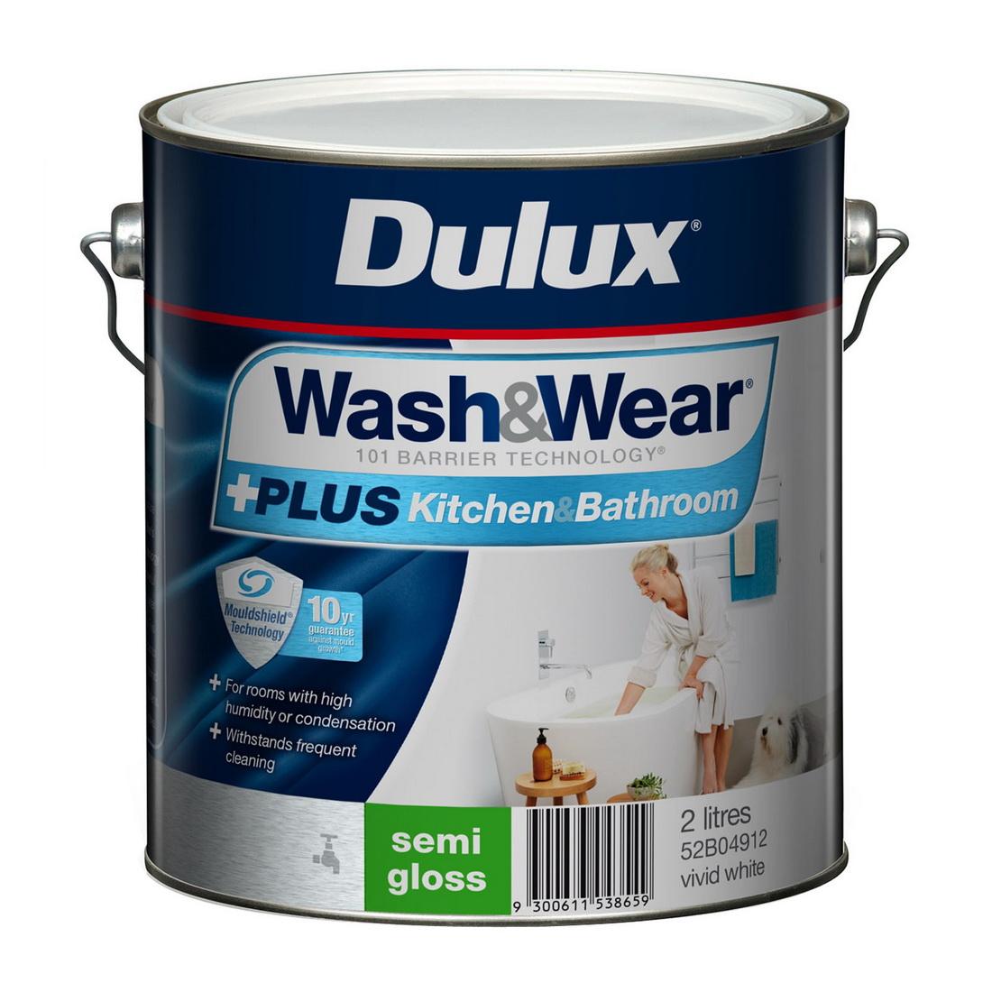 Wash&Wear +Plus Kitchen And Bathroom Semi Gloss Vivid White 2L