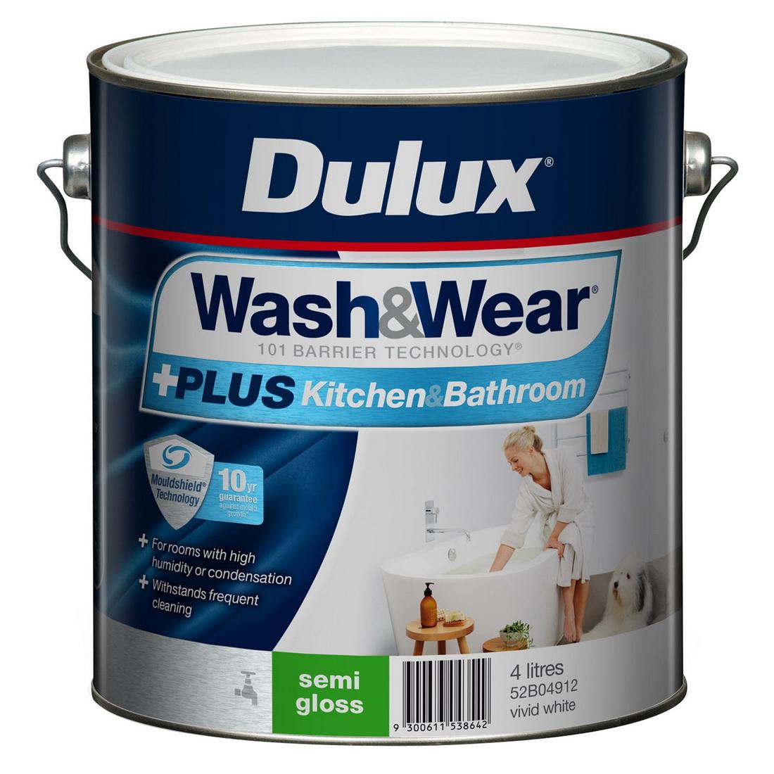 Wash And Wear Plus Kitchen And Bathroom Semi Gloss Vivid White 4L