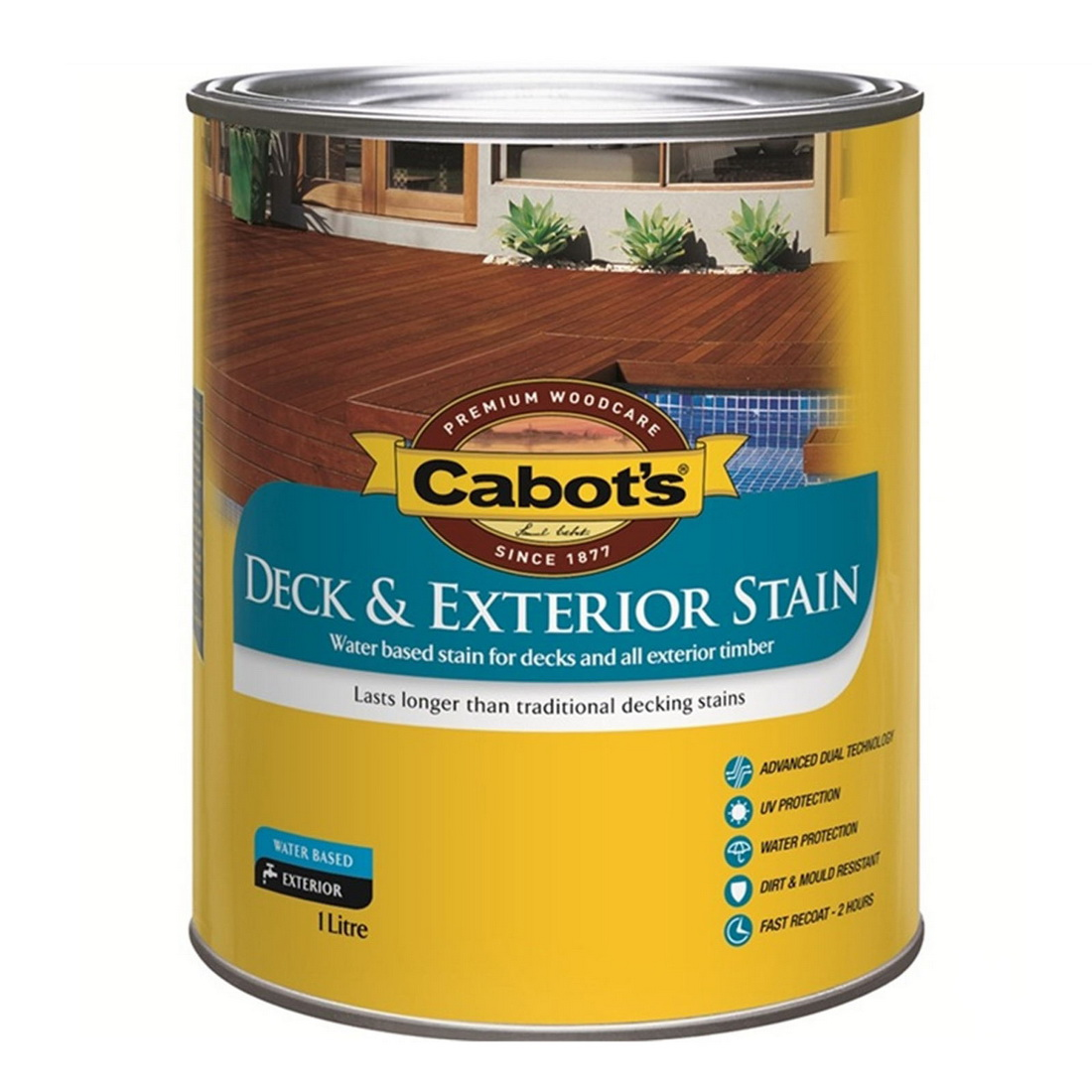 Deck & Exterior Stain Water Based Silver Beech 1L 592W0141-1L