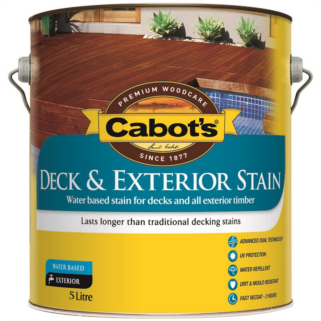 Deck & Exterior Stain Water Based New Rustic Oak 5L 592W0110-5L