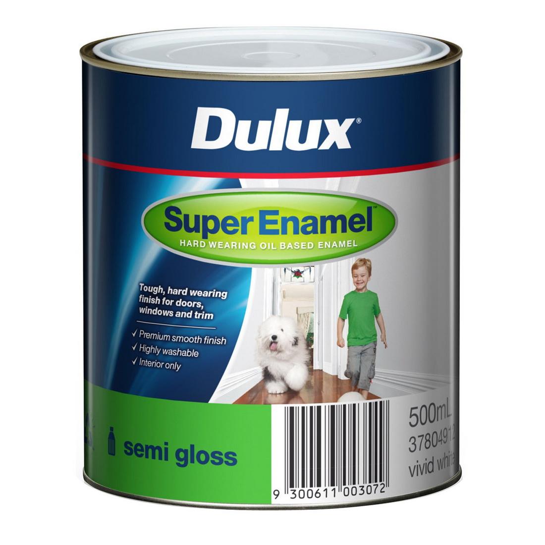 Super Enamel Semi Gloss Vivid White 500ml