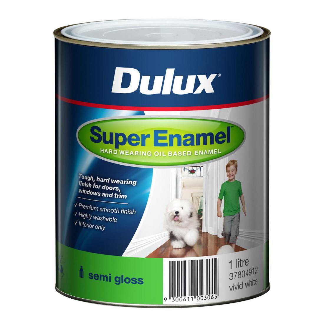 Super Enamel Semi Gloss Vivid White 1L