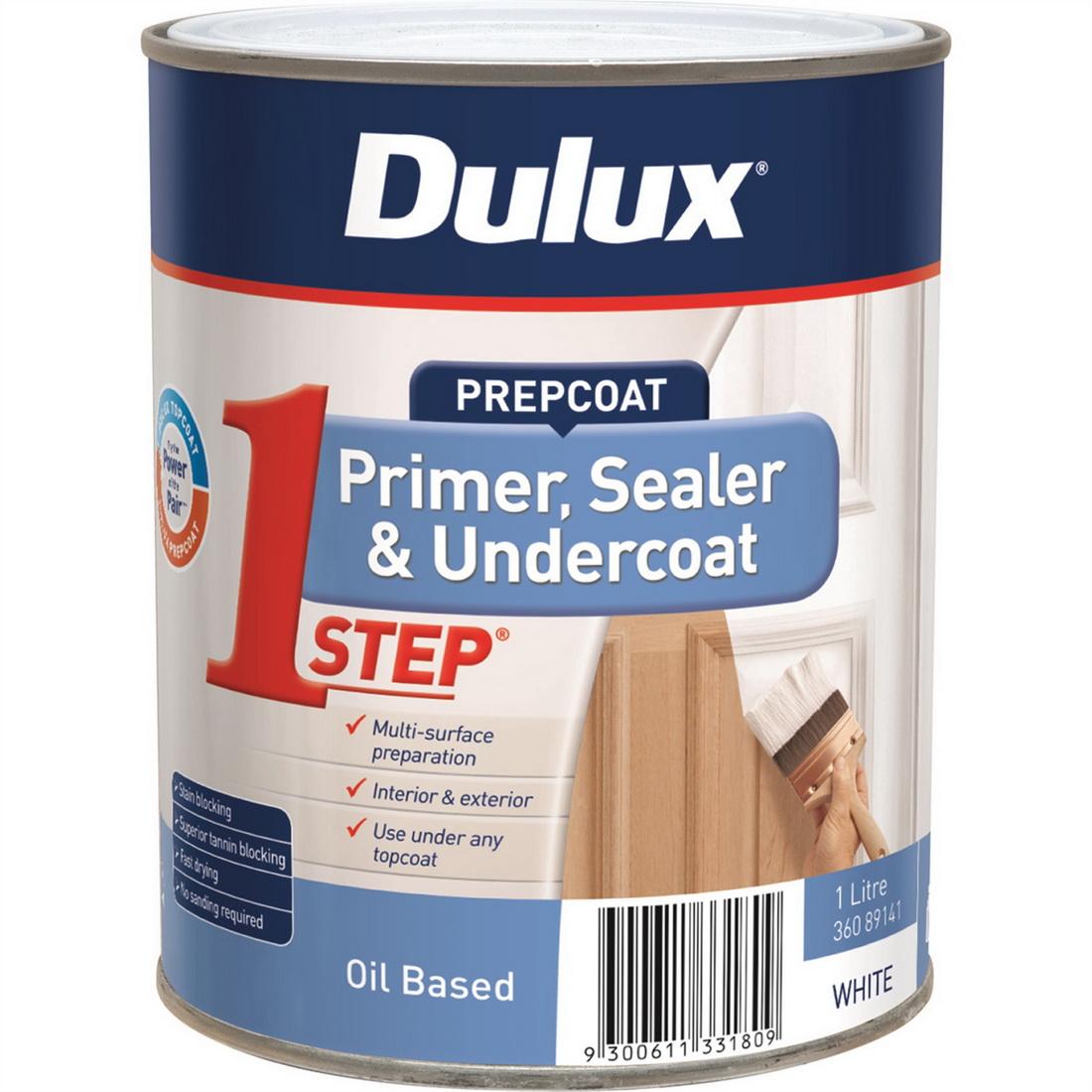 1Step Flat Primer Sealer Undercoat Oil Based White 1L