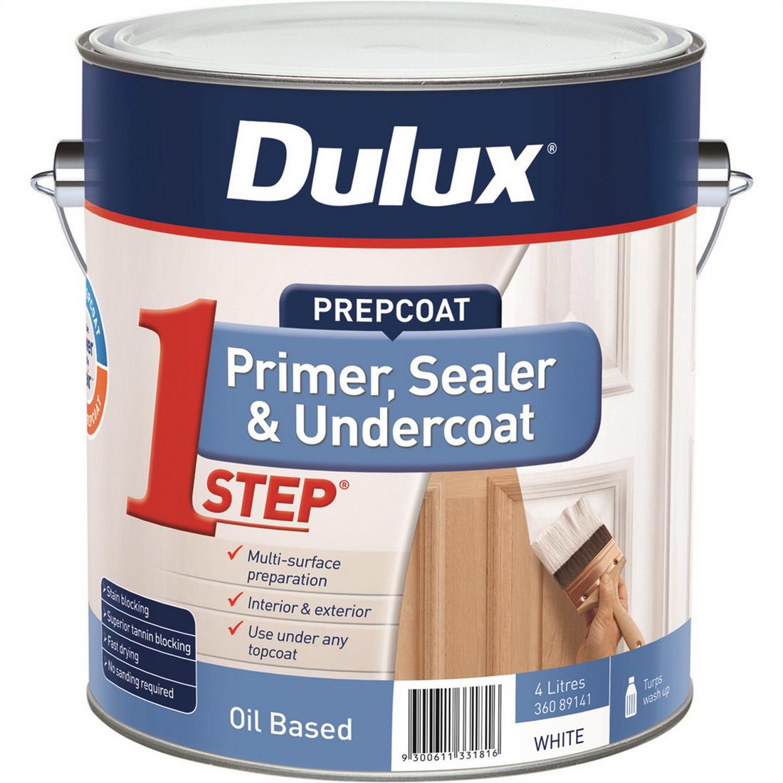 1Step Flat Primer Sealer Undercoat Oil Based White 4L