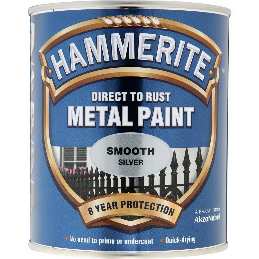 250mL Direct to Rust Smooth Metal Paint Silver
