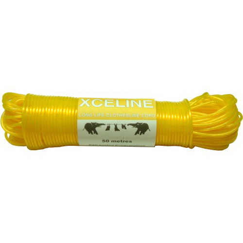 Clothesline Cord Yellow 50m Poly Coated