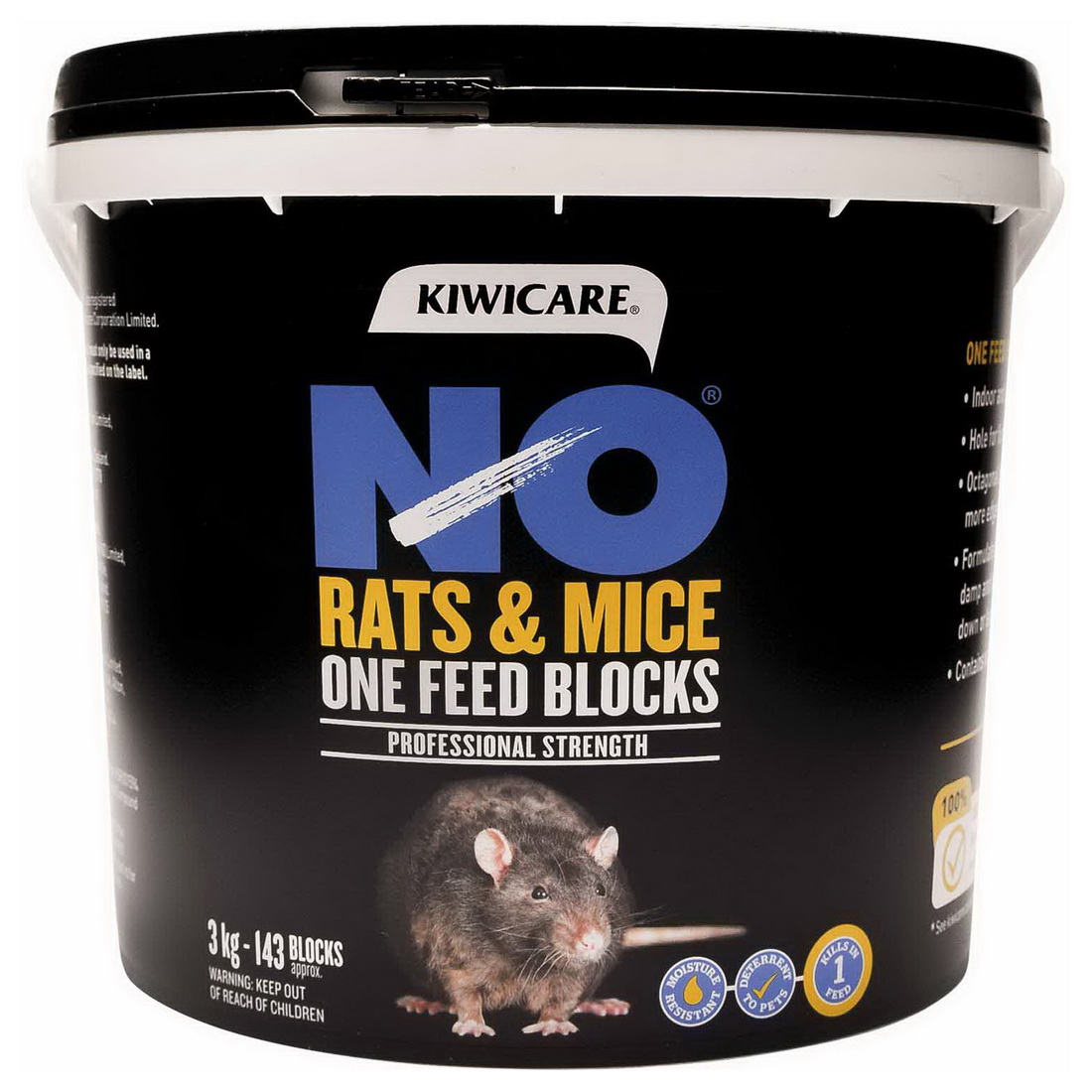 NO Rats & Mice One Feed Block Rodent Bait 3kg Black 53200