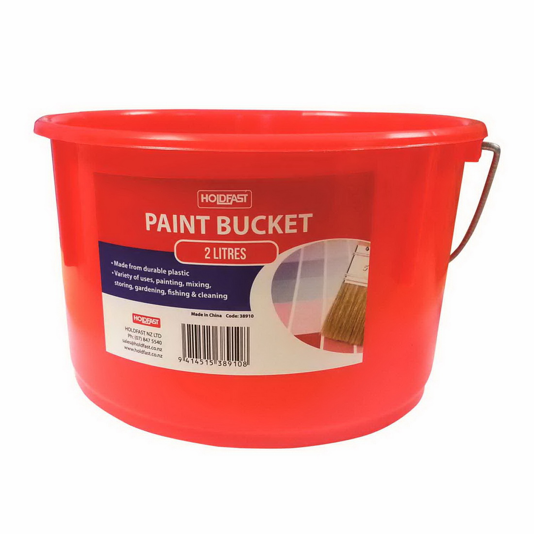 Paint Bucket 2L Plastic Red