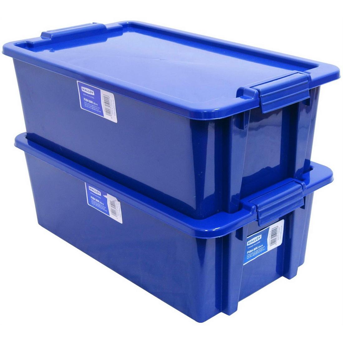 Fish Bin Plastic Storage With Lid 20L Blue S0015