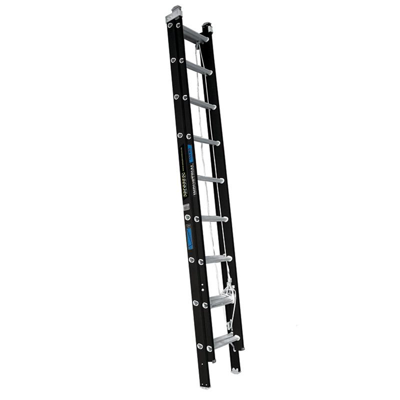 150kg Heavy Duty 9-Step Extension Ladder 2.8-4.7m Fibreglass