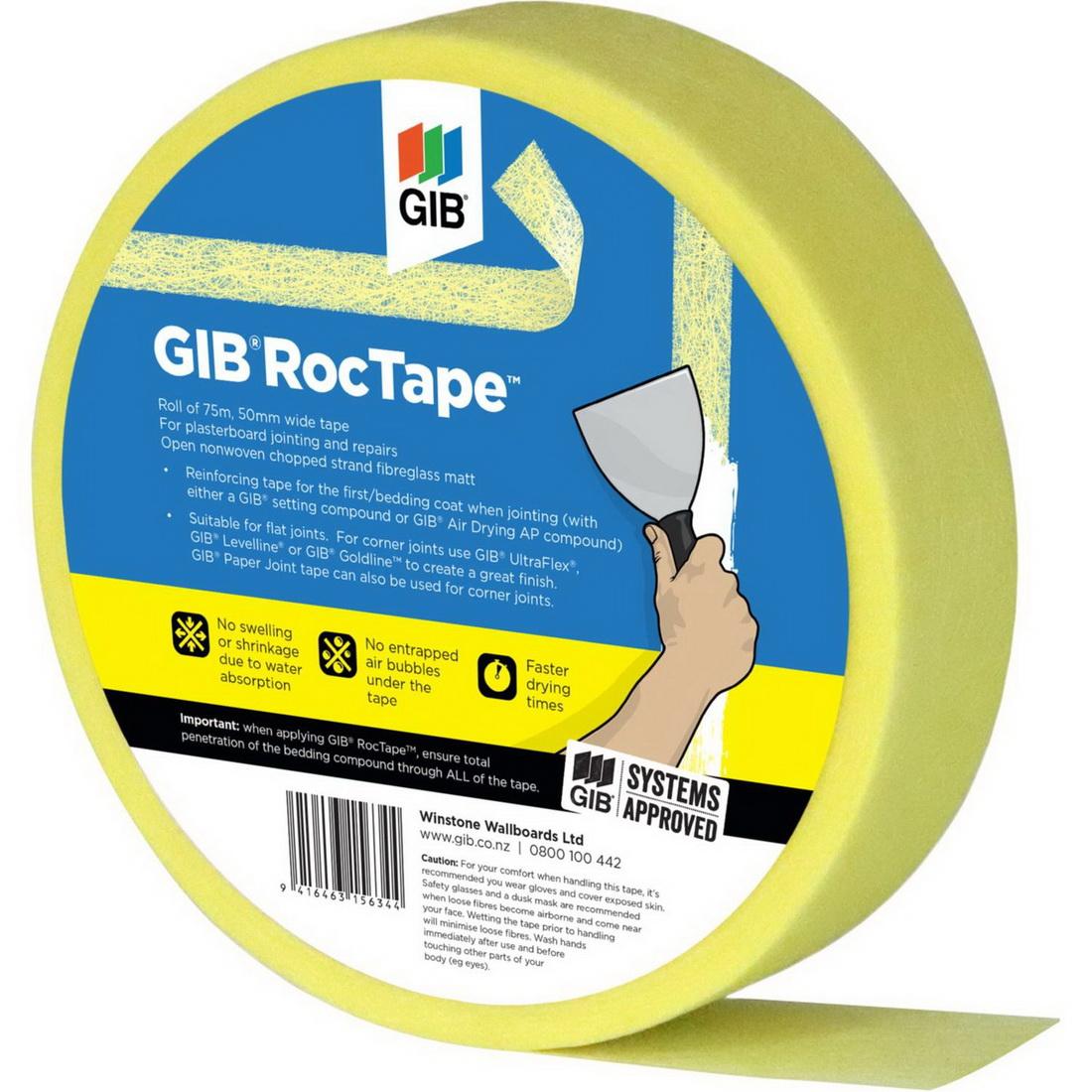 Roctape 50mmx75m Roll Matt Fibreglass Joint Tape