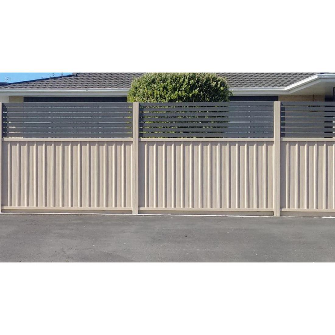 Borderline 1.2/3 Fencing Panel 1500 x 2300mm 300mm Aluminum Slat Infill Ironsand SBO1.2/0.3-I