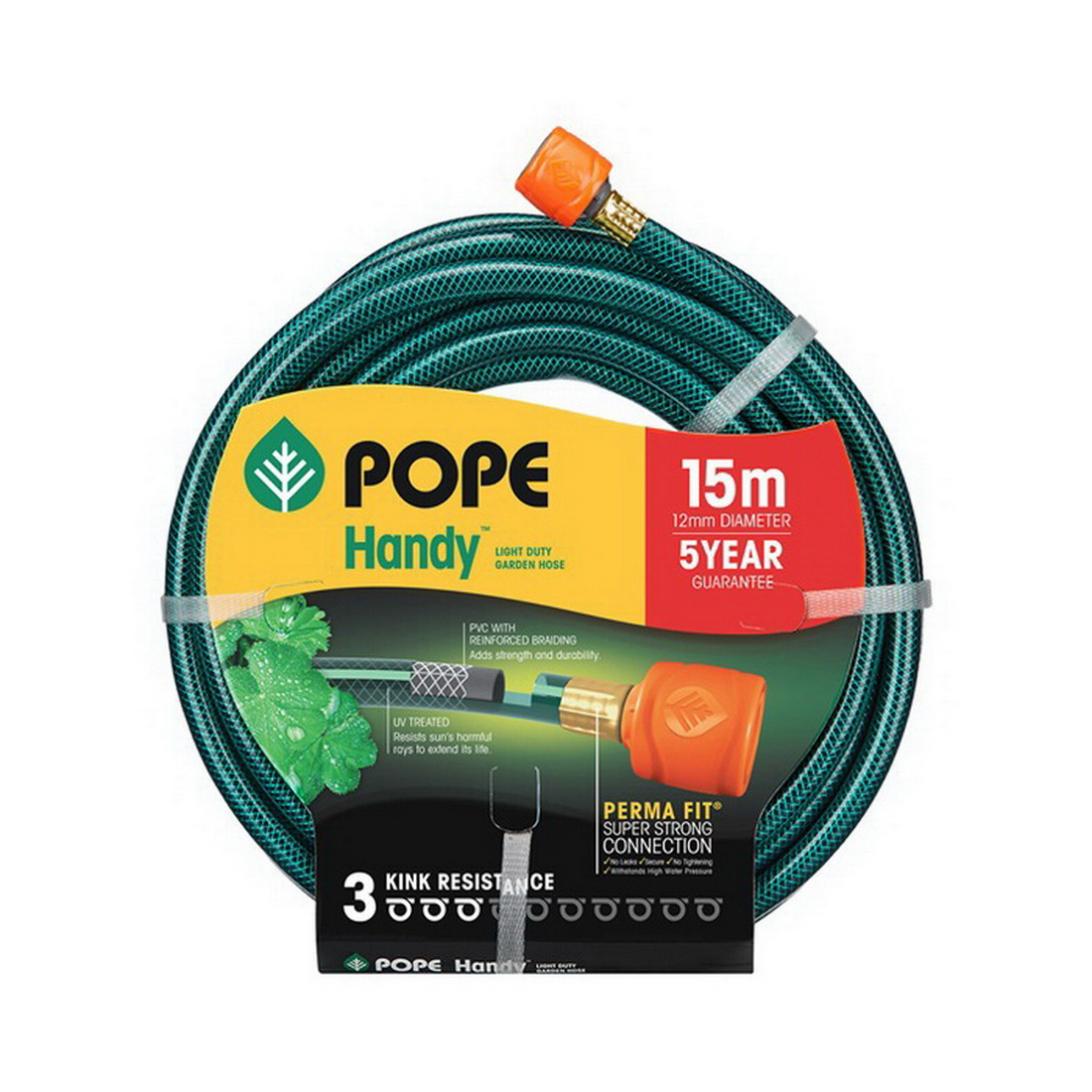 Handy Tap Ready Fitted Garden Hose 12mm Diameter x 15m