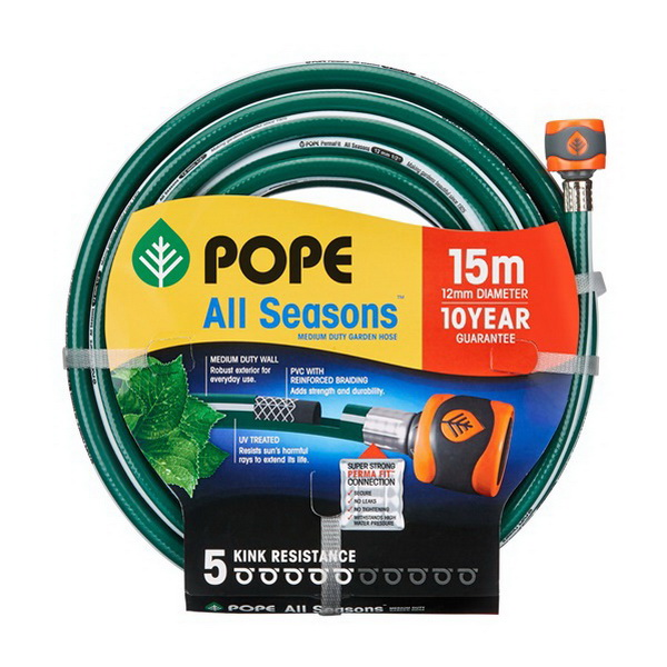 All Seasons Tap Ready Fitted Garden Hose 12mm x 15m