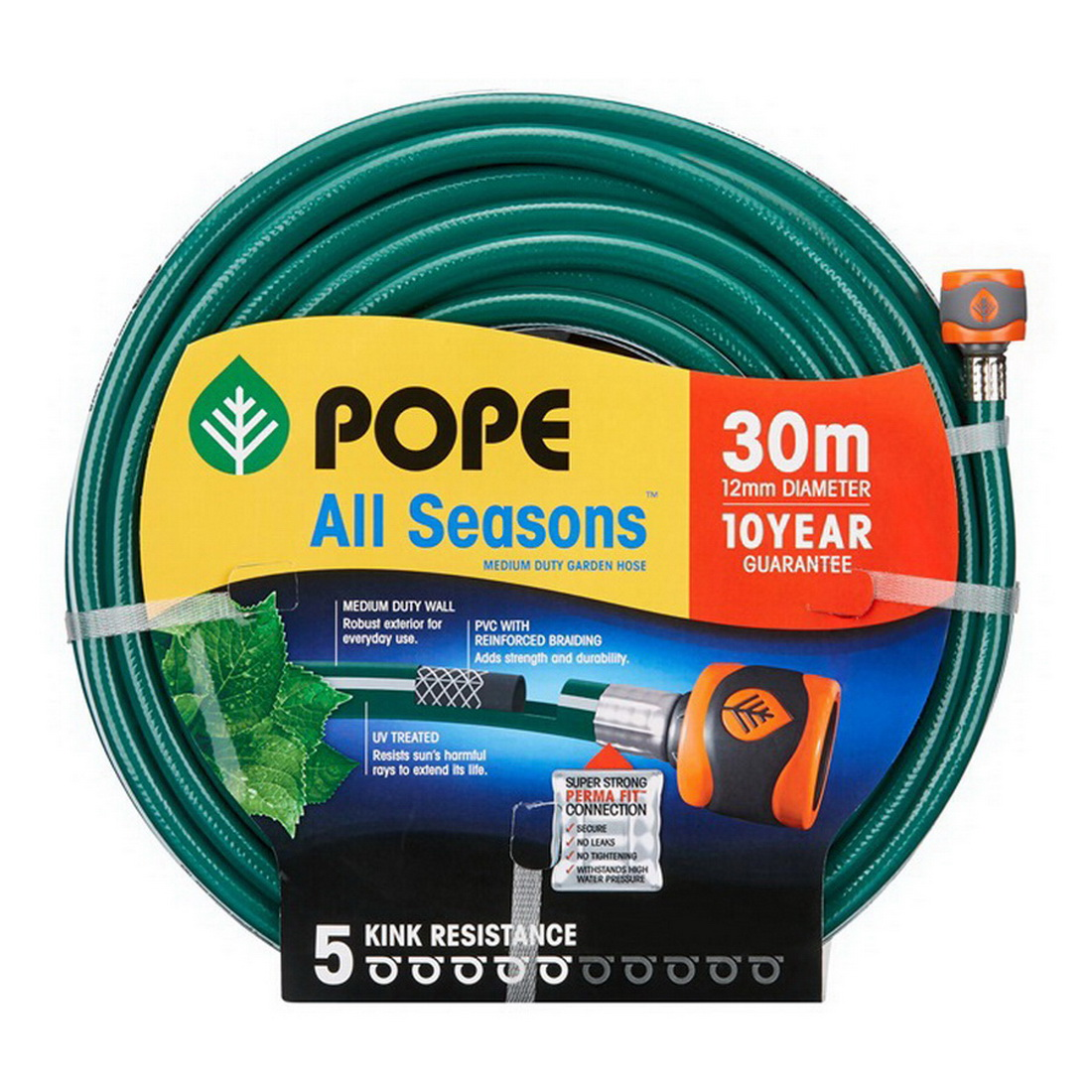 All Seasons Tap Ready Fitted Garden Hose 12mm x 30m