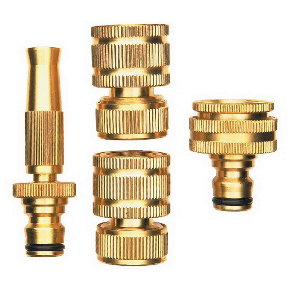 Brass 4 Piece Hose Fitting Set 12mm Connection