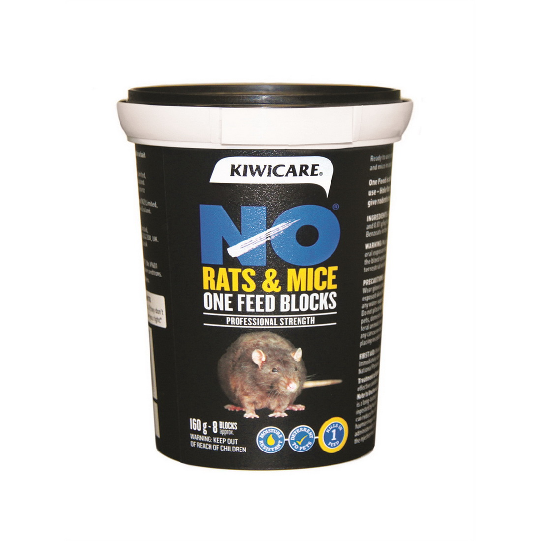 NO Rats & Mice One Feed Block Rodent Control Bait 160g Black 53300