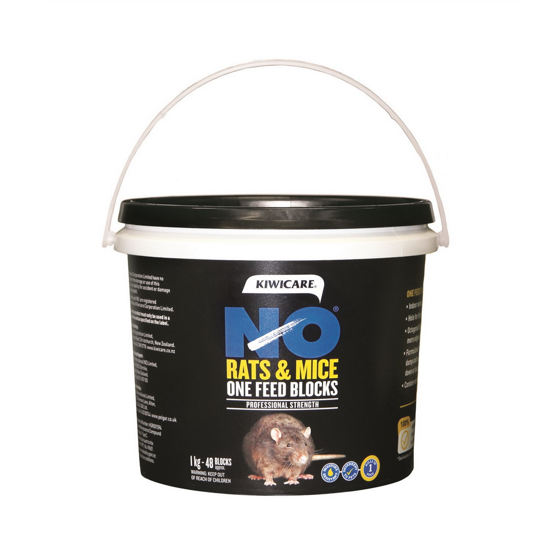 NO Rats & Mice One Feed Block Rodent Bait 1kg Blue 53400