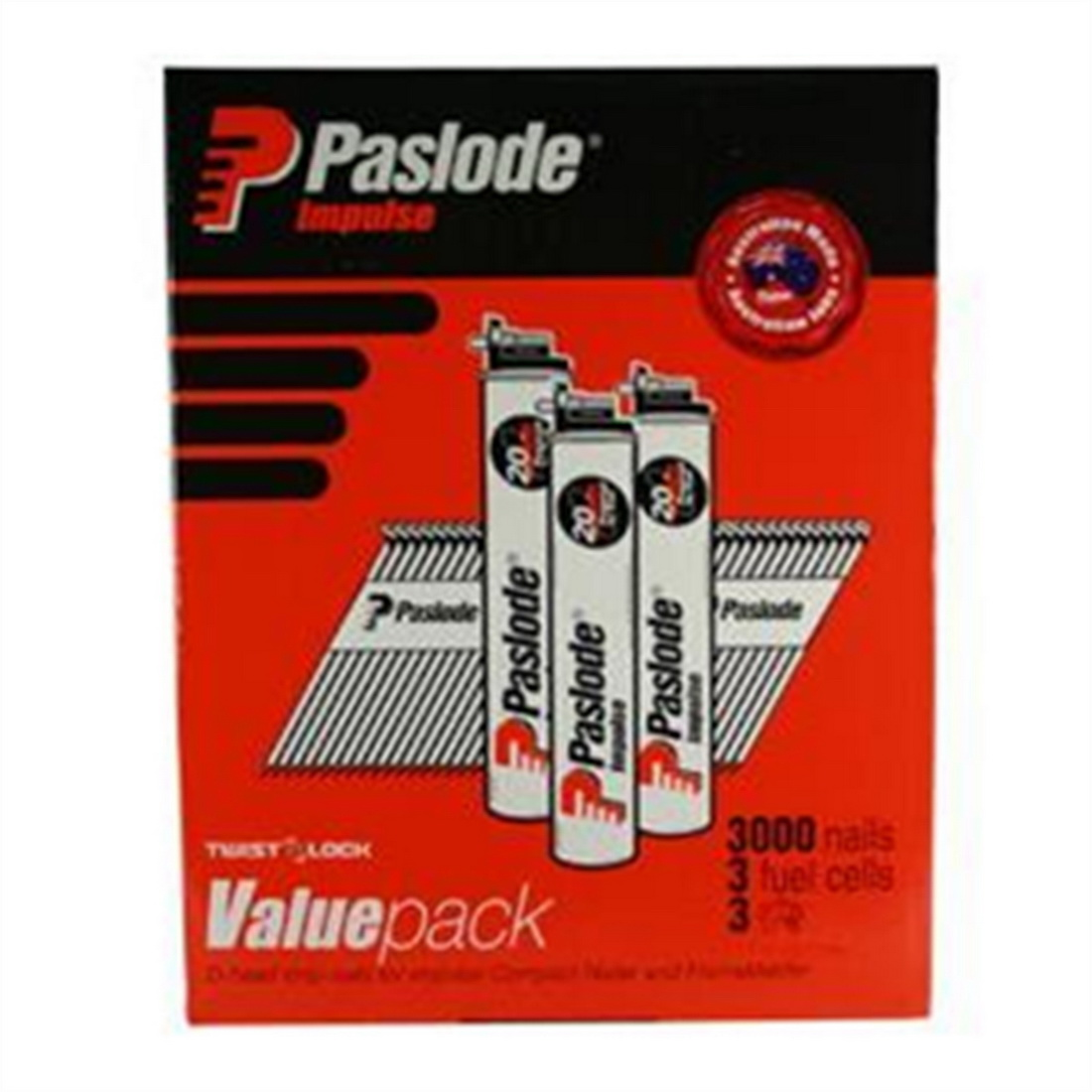 D Head Impulse Nail and 3 Fuel Cell Value Pack 3.15 x 90mm Smooth Hot Dipped Galvanised 3000 pack