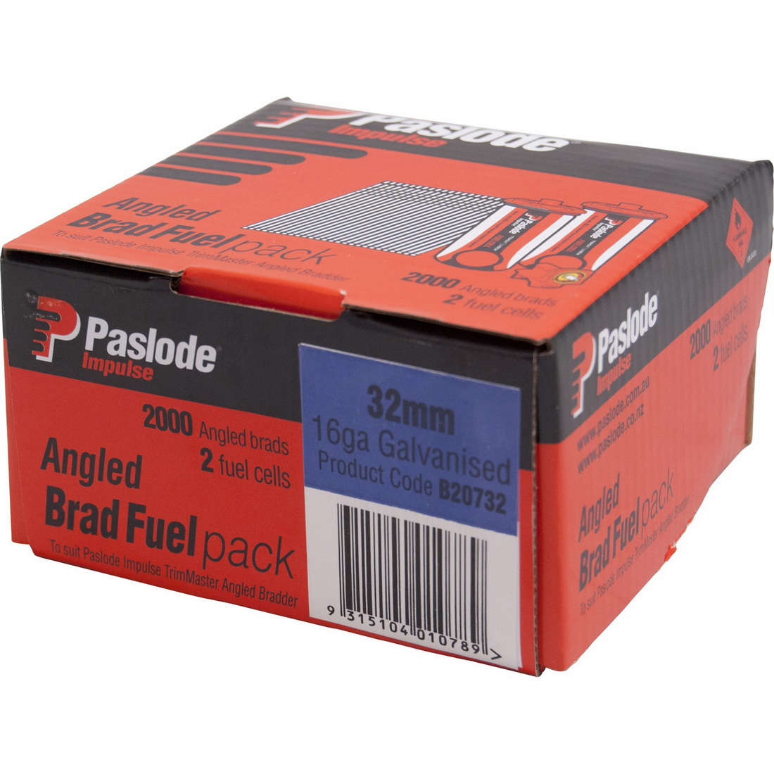 Impulse C Series Angled Brad and 2 Fuel Cell 1.6 x 32mm Zinc Galvanised 2000 pack