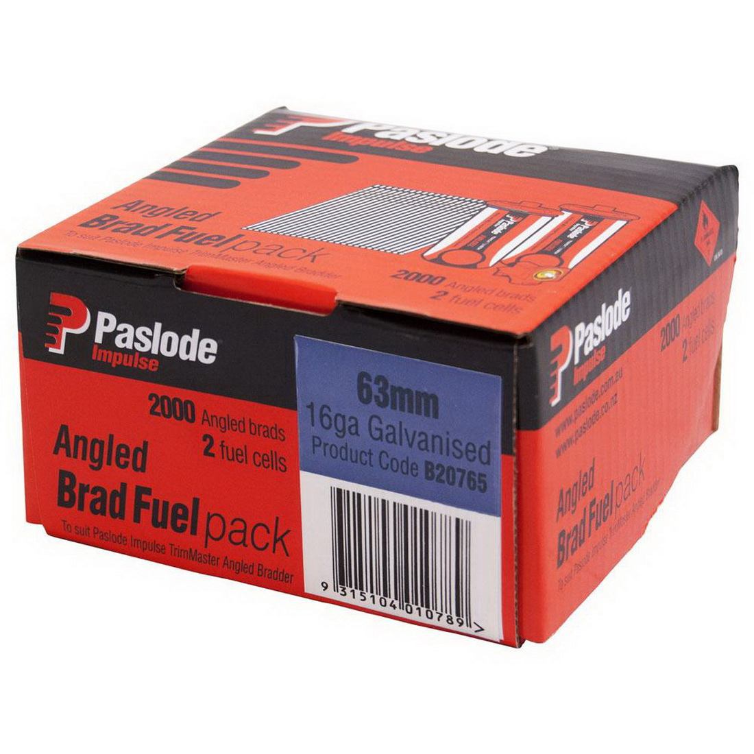Impulse C Series Angled Brad with 2 Fuel Cell 16G 1.6 x 63mm Electro Galvanised 2000 pack