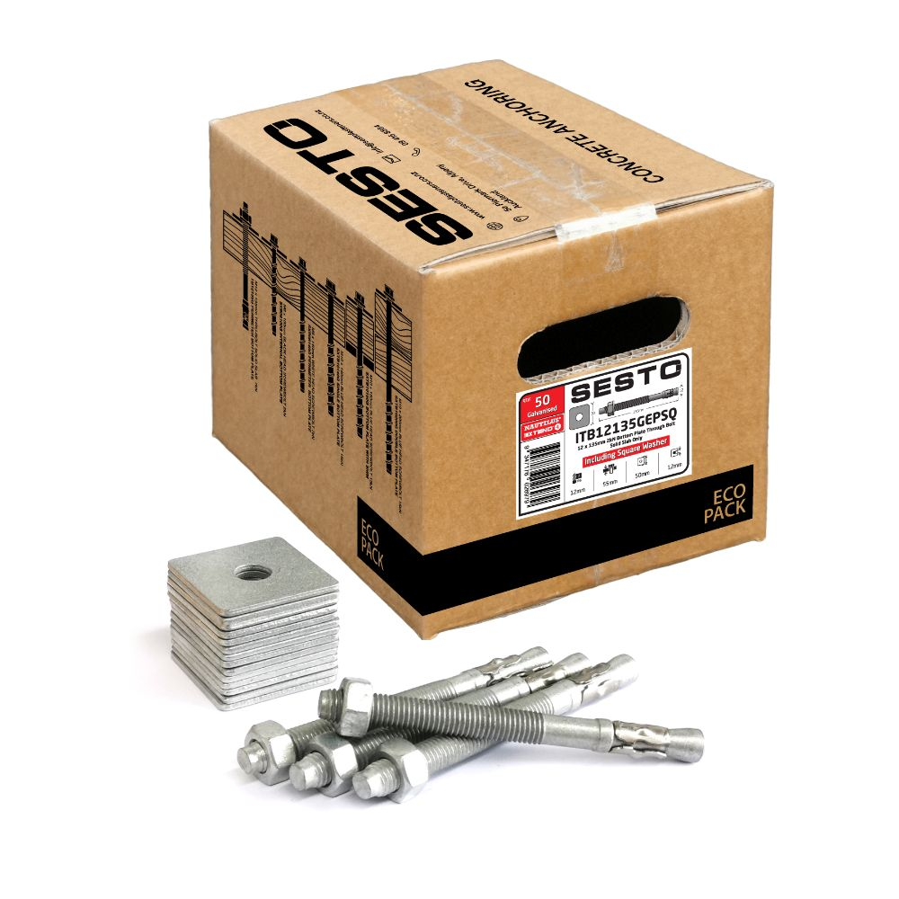 Thru Bolt M12 135mm 7kN Eco Pack including Square Washers 50 Pack
