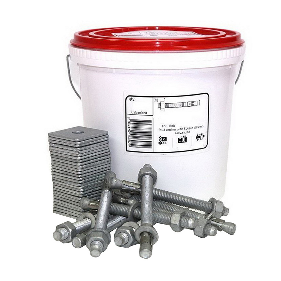 Hex Head Thru Bolt Bottom Plate Stud Anchor With Square Washer 12 x 135mm Galvanised 25 Tub