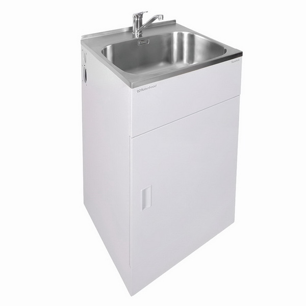 Supertub Classic Series II 560mm Wide Standard Sized 1 Drawer Laundry Tub with Storage Cupboard Satin White