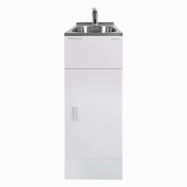 Supertub Classic Series II 350mm Wide Slim Sized 1 Drawer Laundry Tub with Storage Cupboard Satin White
