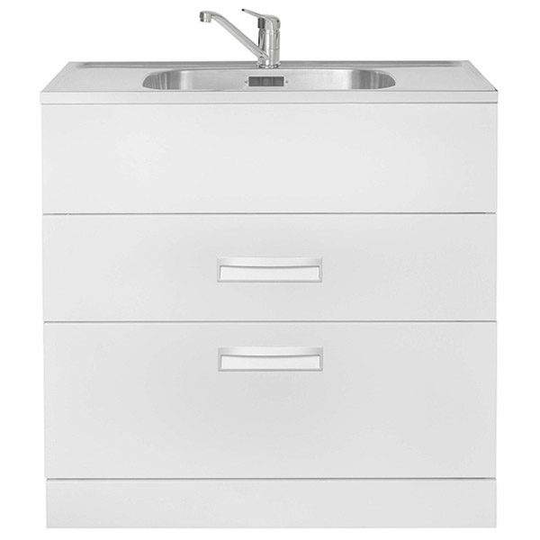 HubTub 2 Drawer 900mm Stainless Steel Laundry Tub AQ HUBTUB 900