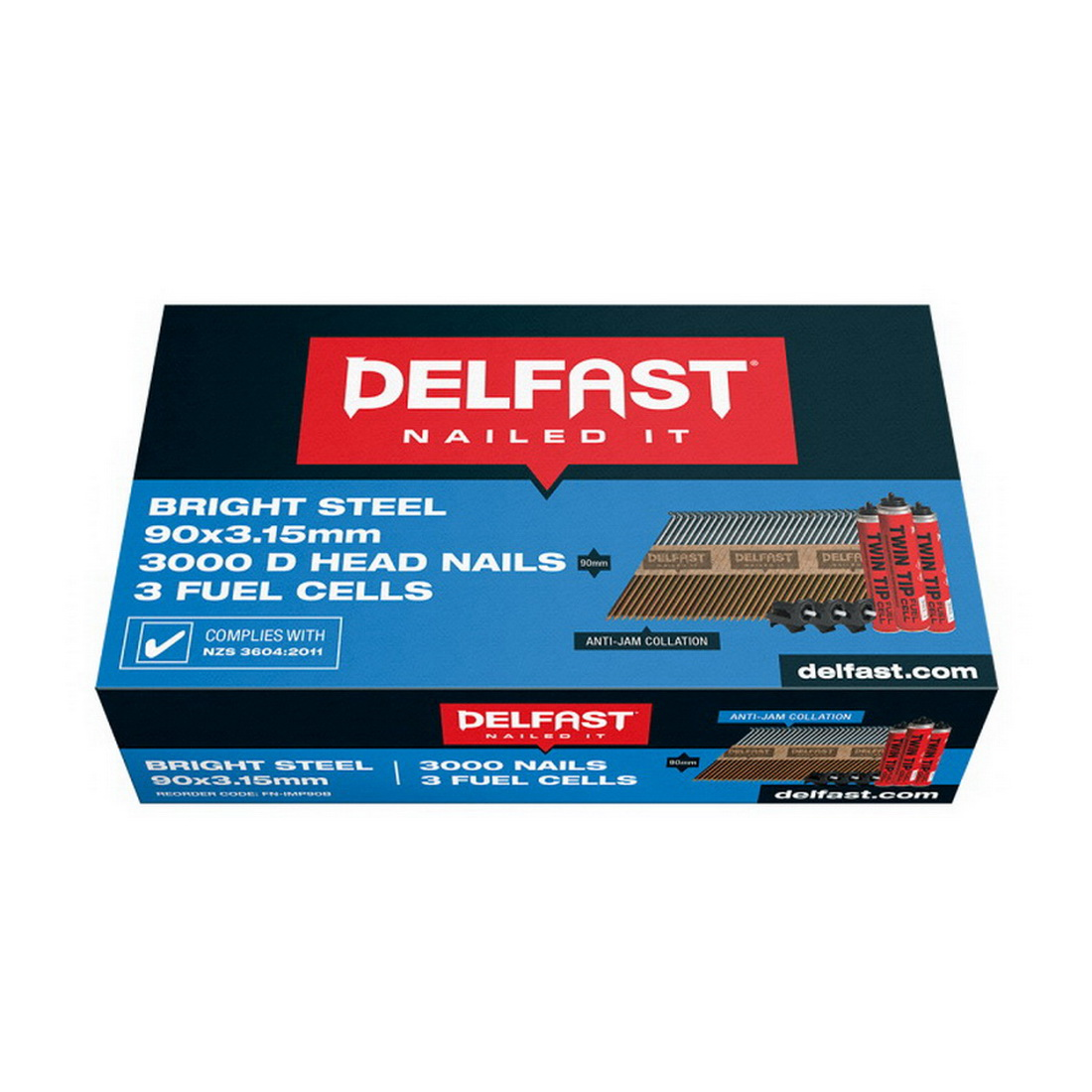 D Head Nail & 3 Fuel 3.15 x 90mm Smooth Bright 3000/ Pack