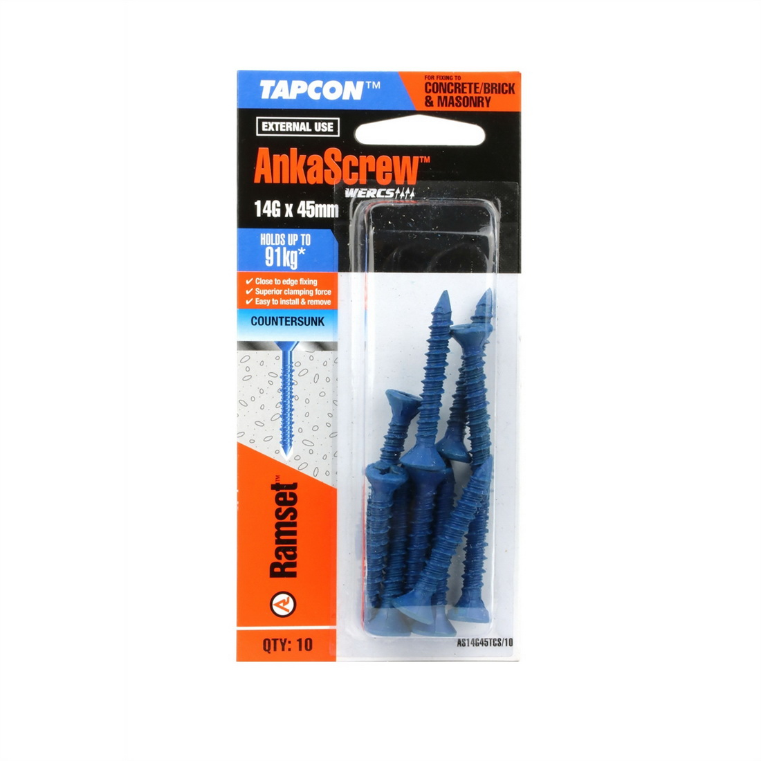 Tapcon Ankascrew Countersunk Head Masonry Screw 14G 45mm Carbon Steel 10 pack AS14G45TCS/10