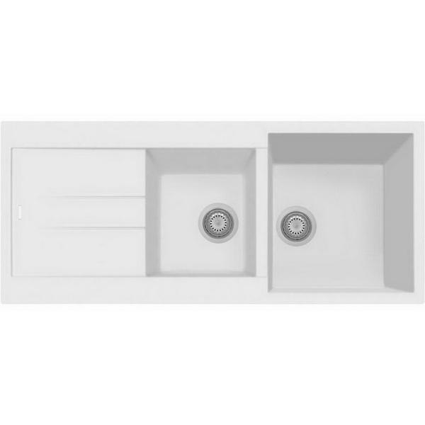 Oliveri Telma Granite 1 & 3/4 Sink Bowl & Drainer 500 x 1160 mm White Topmount AM11620-WHITE